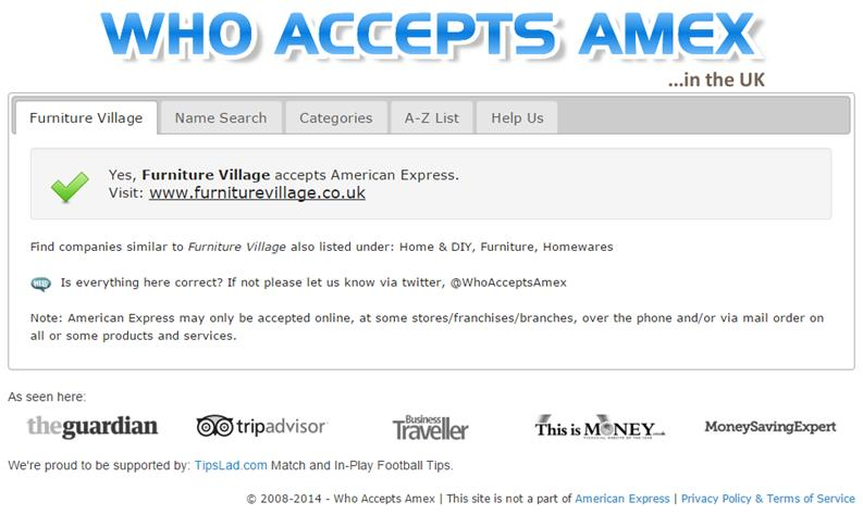 Screenshot of the Who Accepts Amex new winning variation