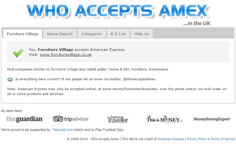 Screenshot of the Who Accepts Amex original variation